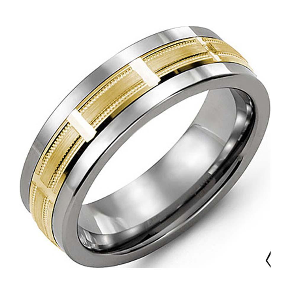 Cobalt 10k Yellow Gold Ring Men 7mm Bague Bijouteries Lavigueur